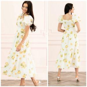 Rachel Parcell Lemon Puff Sleeve Midi Dress